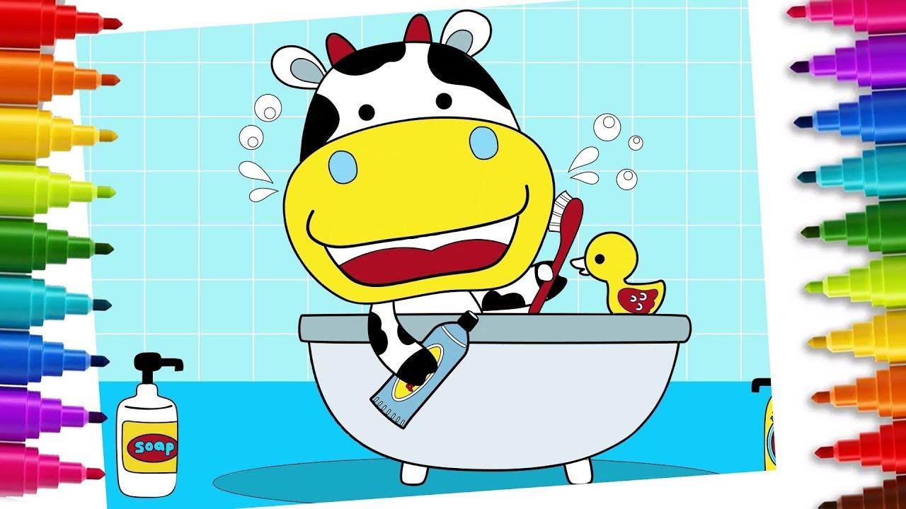 Cómo dibujar una vaca en la bañera - Dibujos sencillos | Chiki-Arte Aprende a Dibujar