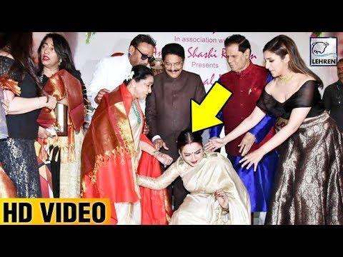 Rekha Falls Down At Asha Bhosle's Feet |...