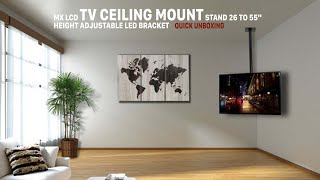 """MX LCD TV Ceiling Mount Stand 26 to 55"""" Height Adjustable LED Bracket - Quick Unboxing"""