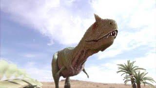 カルノタウルスに追われるサルタウルス【クリエイティブ・ライブラリー 素材】
