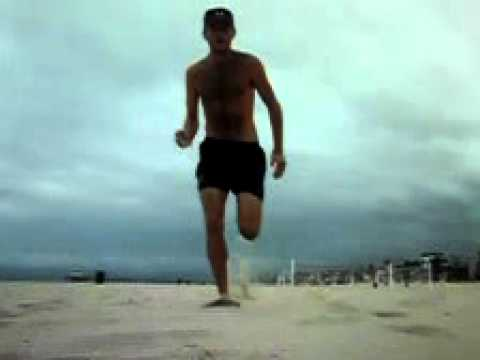 full sprint at 420 frames per second running barefoot on the beach