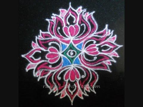 by ethnico-Drawing lotus rangoli for festivals -  Navratri or Diwali