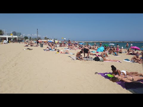 4k Barcelona   Beach Walk