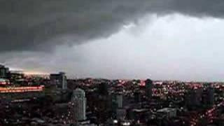Tornado warning high above downtown ...