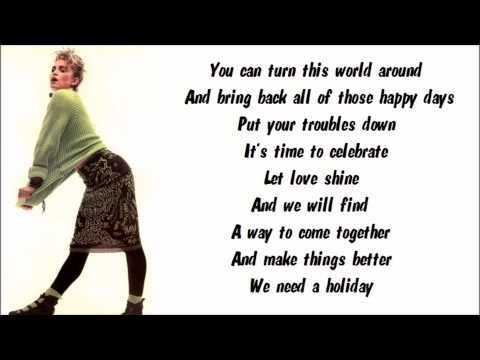 Madonna - Holiday Karaoke / Instrumental with lyrics on screen