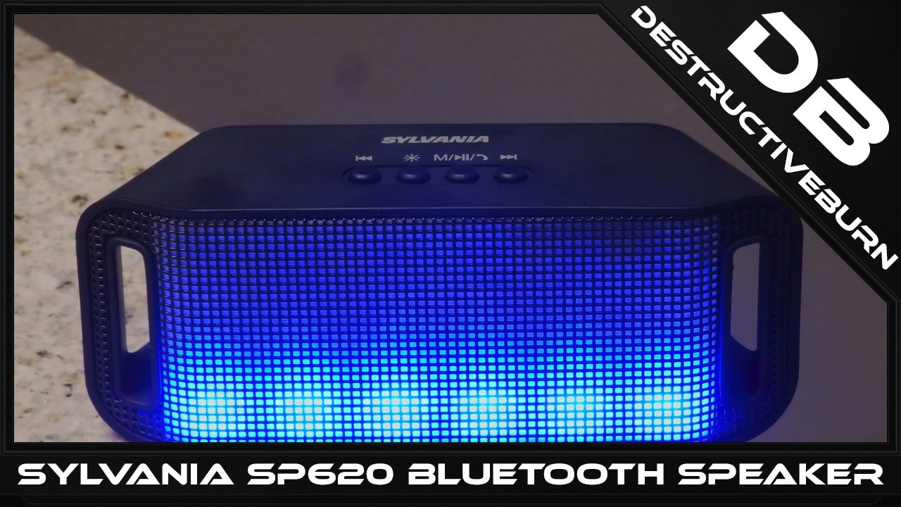 SYLVANIA SP620 Black Bluetooth Neon Light up Speaker Unboxing and Review
