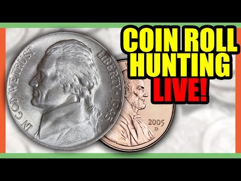 🔴 COIN ROLL HUNTING PENNIES AND NICKELS - SEARCHING FOR RARE COINS!!