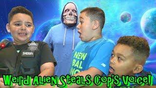 Weird Alien Steals Cop's Voice! Kids Find Secret Message....