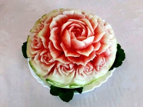 Hướng dẫn tỉa hoa Hồng từ Dưa hấu lesson 259 Part 1-Carving Rose flower from waterMelon.