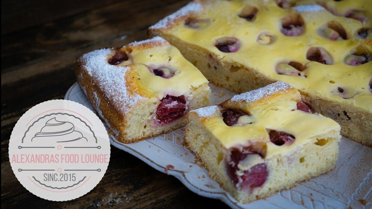Kirsch-Quark-Kuchen mit frischen Kirschen. Mega lecker!
