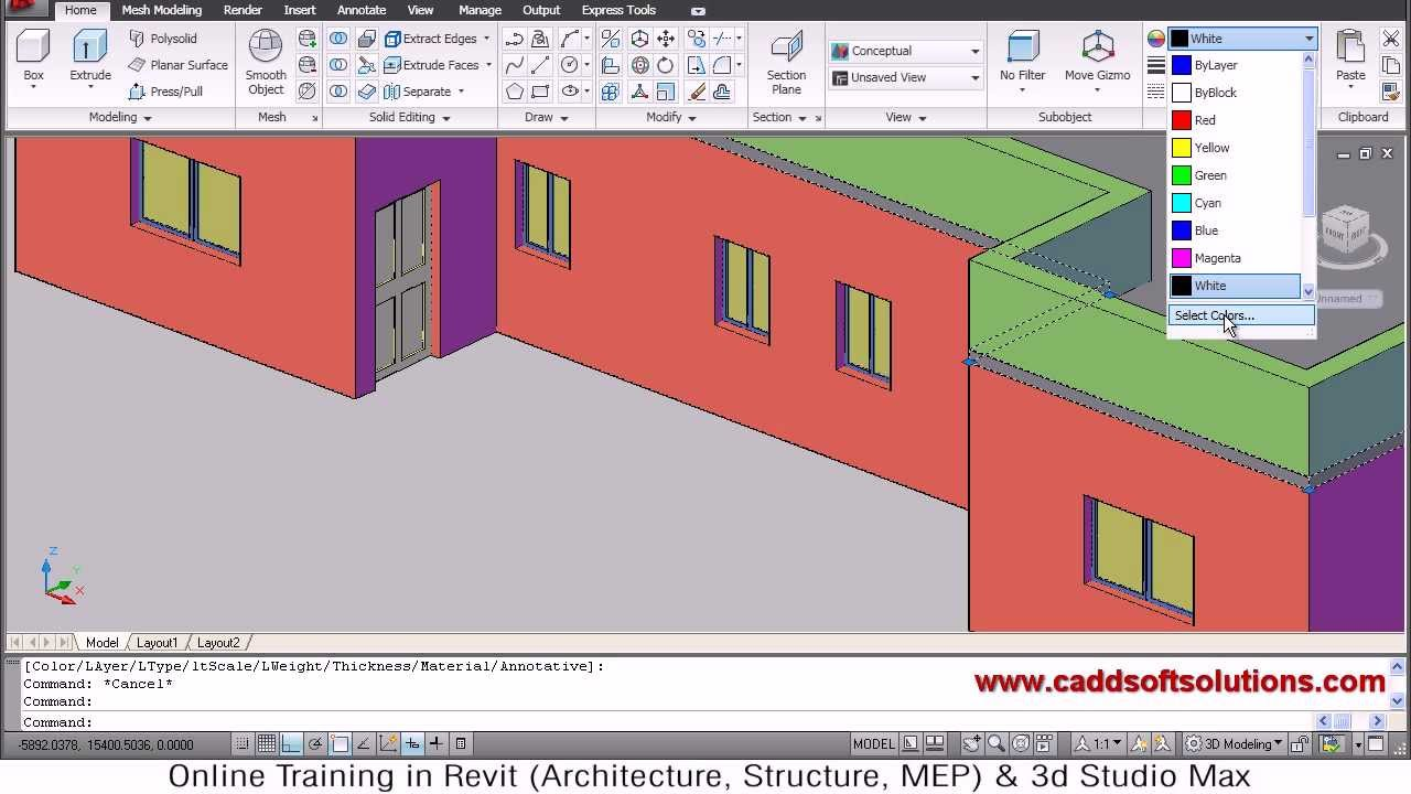 Autocad 3d house modeling tutorial 5 3d home 3d for In plan 3d