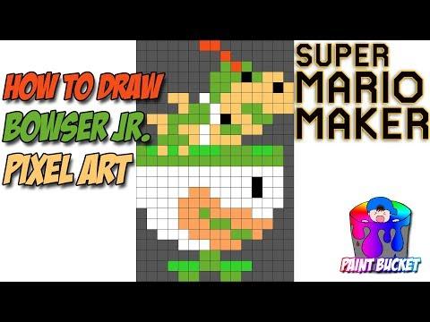 How to Draw Bowser Jr. in Clown Car - Super Mario Maker Pixel Art 8-Bit Drawing Tutorial