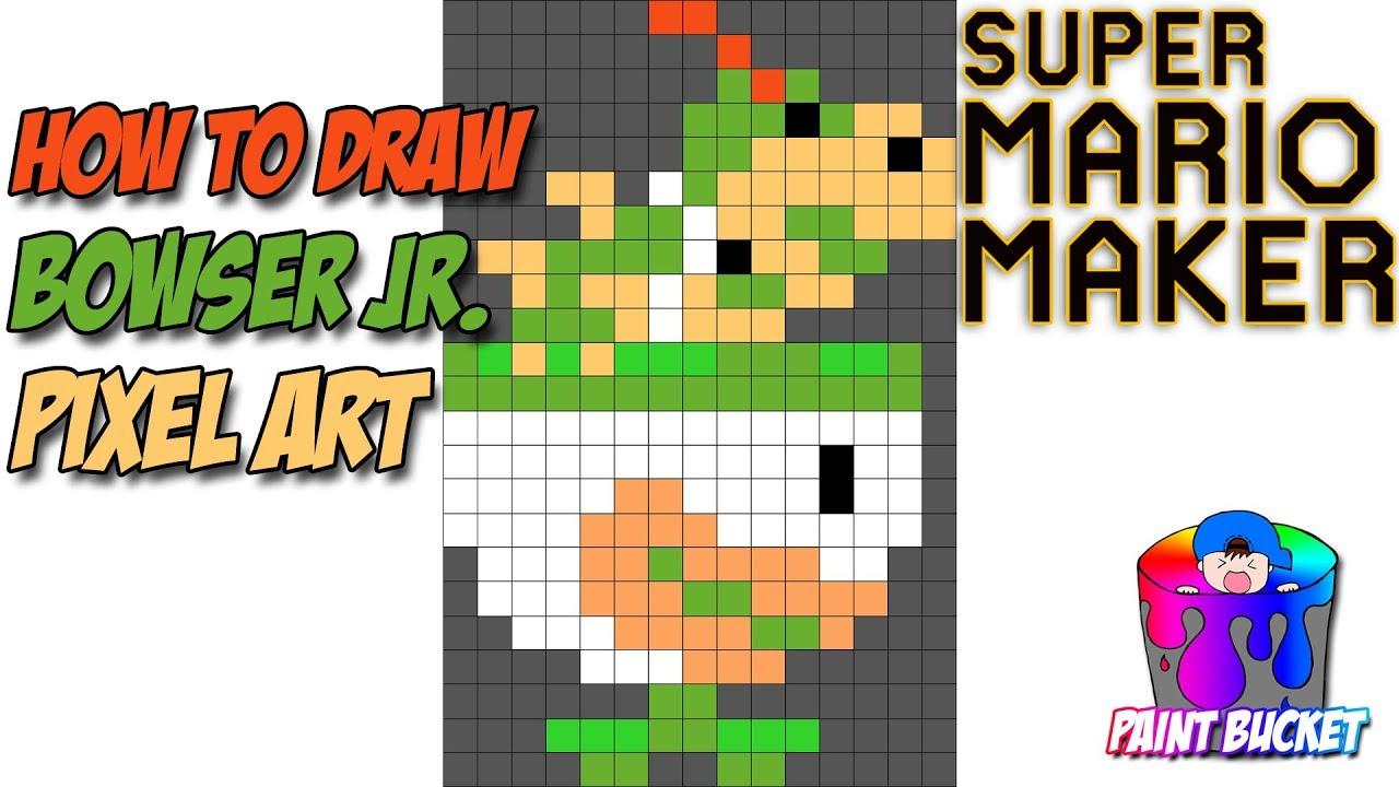 How to Draw Bowser Jr. in Clown Car - Super Mario Maker Pixel Art 8-Bit Drawing Tutorial - YouTube