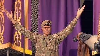 Army Gen. Joseph Votel Sounds Gjallarhorn, Leads Skol Chant