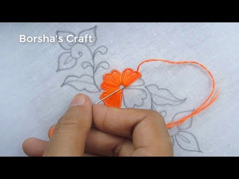 Hand Embroidery, Easy Flower Embroidery Tutorial with Beads, Flower Embroidery Design thumbnail