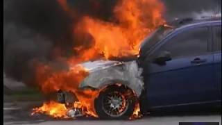 real life car fire and explosion with little person fireman