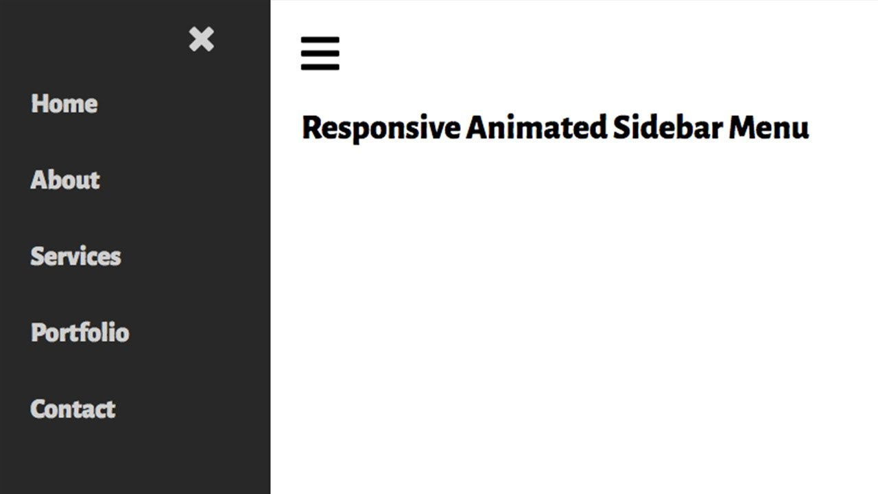 Responsive Animated Sidebar Menu From Scratch with HTML & CSS