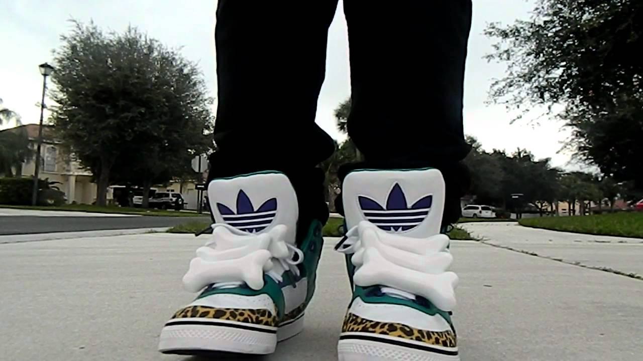 6b1af54f96e7 Jeremy Scott Bones Adiddas on feet! - YouTube