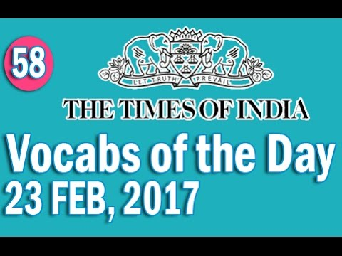 The Times Of India Vocabulary (23 FEB, 2017) - Learn 10 New Words with Tricks | Day-58
