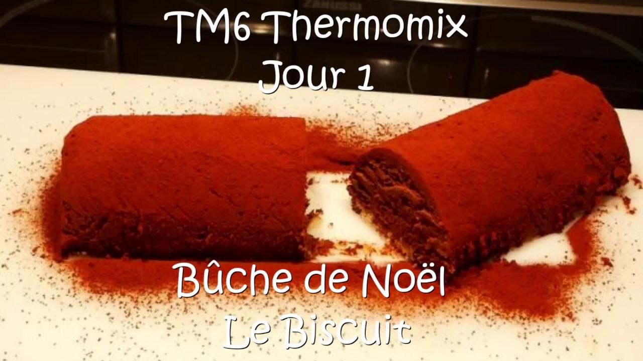 buche de noel au chocolat biscuit genoise aux amandes avec le tm6 thermomix