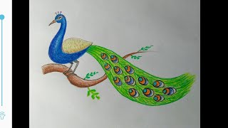 How to make peacock sitting on the branch easy steps..