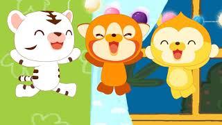 Новые песенки для детей - Пять маленьких обезьянок прыгали на кровати - потешки для малышей
