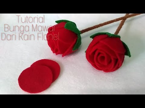 Cara Mudah Membuat Bunga Mawar Dari Kain Flanel || How to make a felt rose