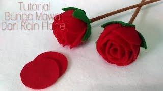 Cara Mudah Membuat Bunga Mawar Dari Kain Flanel    How to make a felt rose