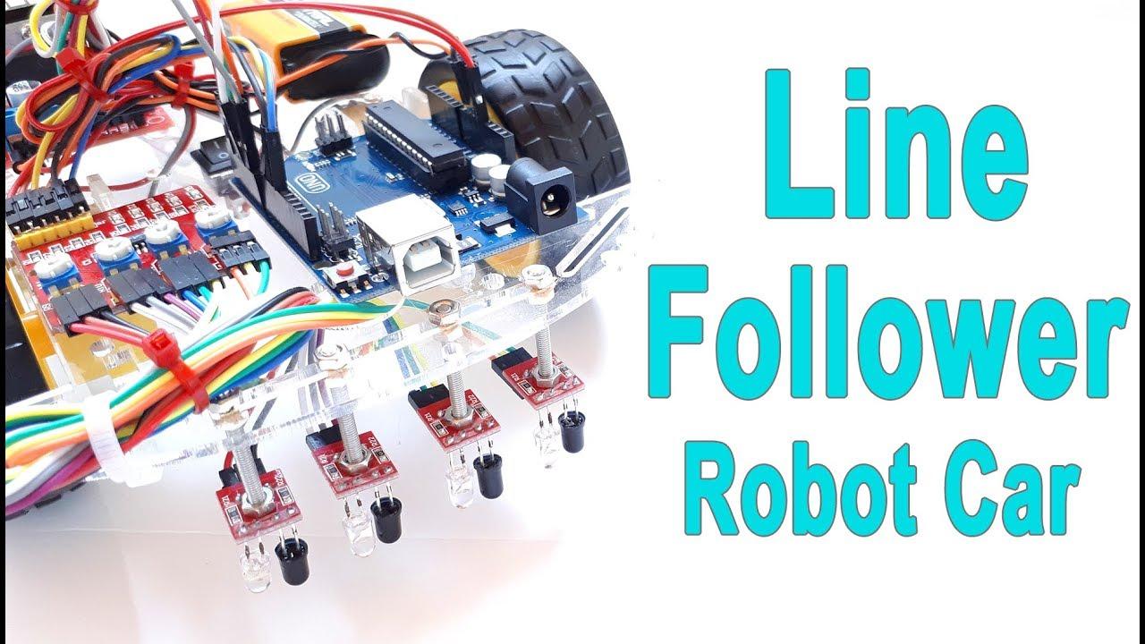 How To Make Arduino Line Following Follower Robot Car Youtube