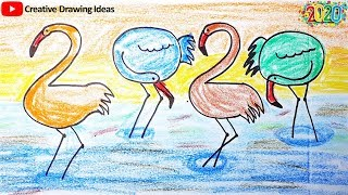 How to Draw 2020 Happy New Year Happy New Year 2020 Drawing Creative Drawing Ideas