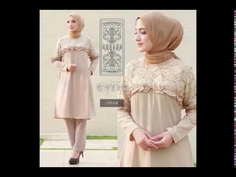 Model Baju Muslim Tunik Modern Terbaru 2018 Untuk Pesta - YouTube 2516c454cf