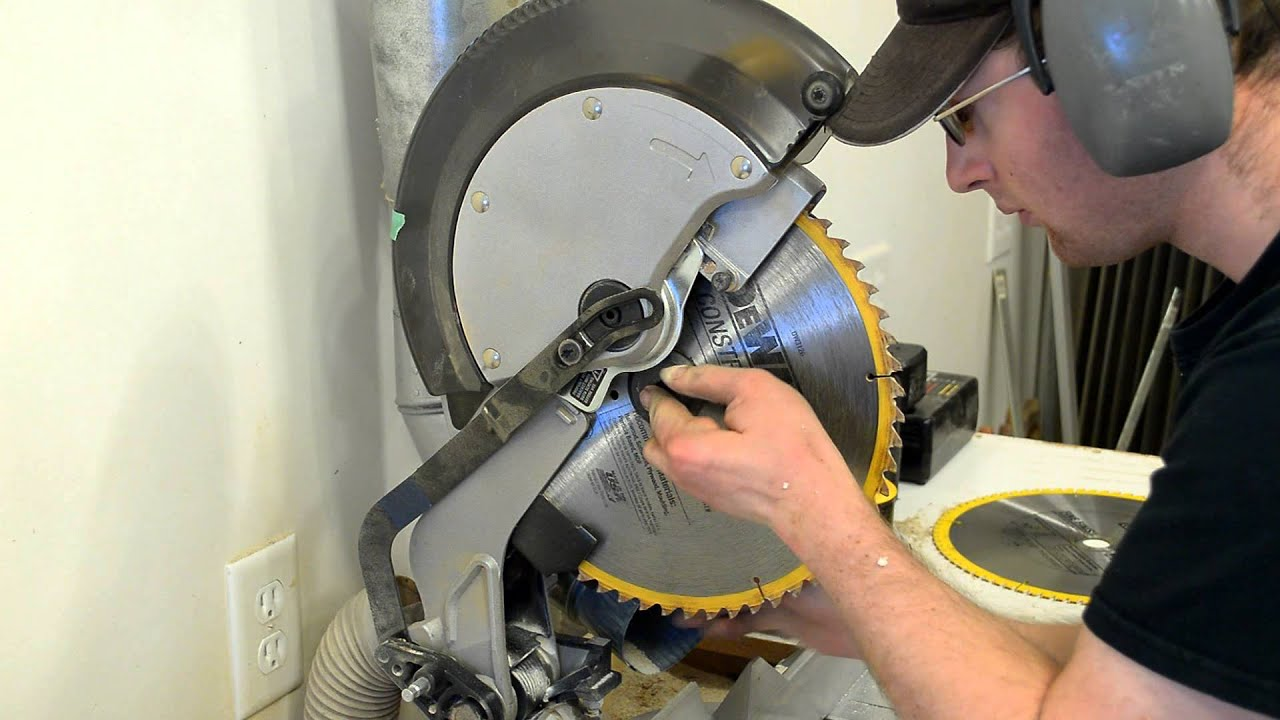 Dewalt miter chop saw blade change diy youtube greentooth Choice Image