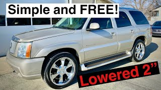 HOW TO LOWER OR LIFT The Front end of your Escalade, Denali, Tahoe, Suburban For Free In 5 Mins!
