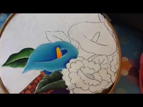 Pintura en tela vendedora de flores 6 con cony youtube - Flores de telas hechas a mano ...