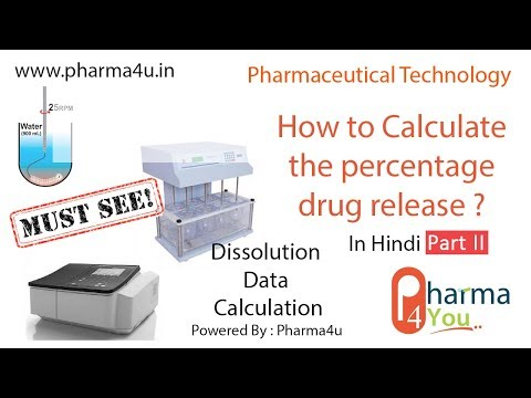 How To Calculate The Percentage Drug Release ?   Dissolution Data Calculation   In Hindi