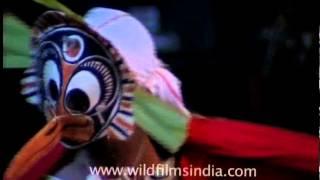 Colorful and vivid costume mask of Padayani dancers, Kerala