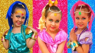 Leah from Shimmer and Shine cartoon and Julia pretend play with toy genie dolls