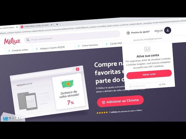 MELIUZ CASHBACK - Como Criar e Ativar a Conta,  Solicitar CARTÃO MÉLIUZ e Ganhar Dinheiro!