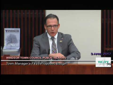 Town Manager's Presentation of Proposed Budget to Council April 3, 2017