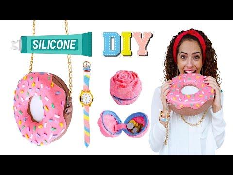 DIYs com SILICONE #3: BOLSA DONUT, BOLSINHA FLOR E RELÓGIO (no insta) | Paula Stephânia