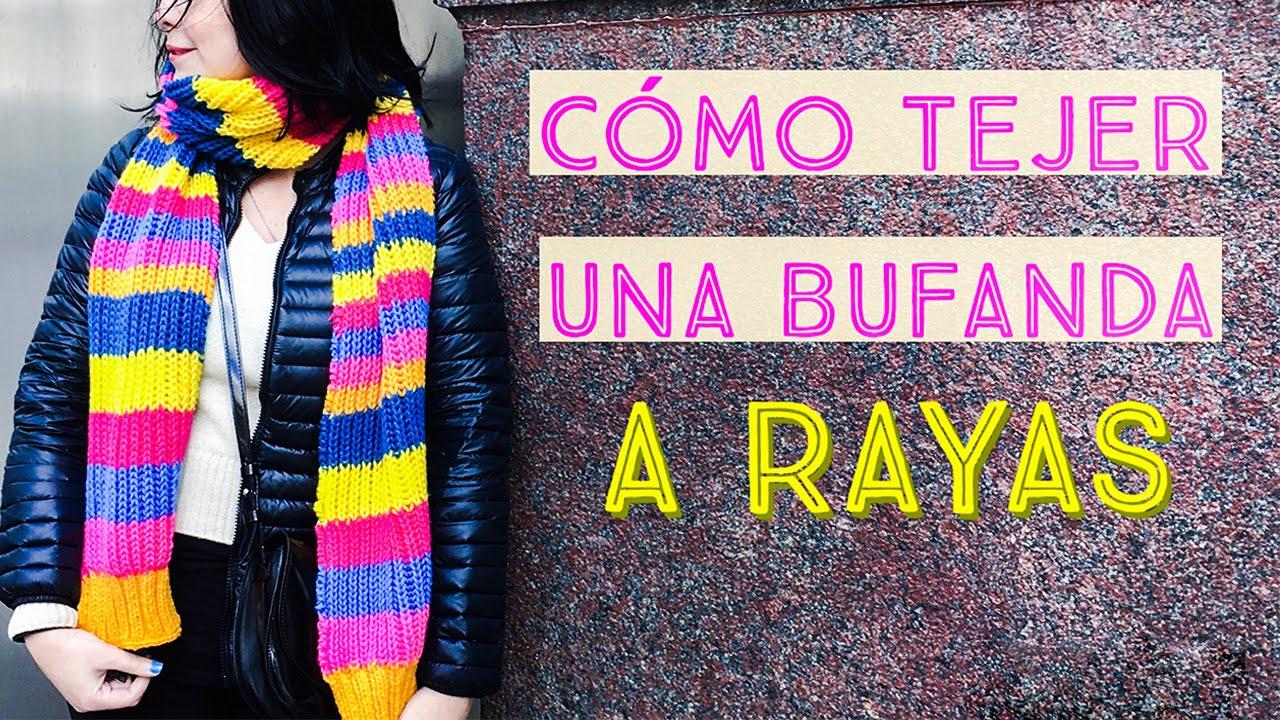 Cómo Tejer una Bufanda a Rayas en Punto Inglés y Elástico Doble ...