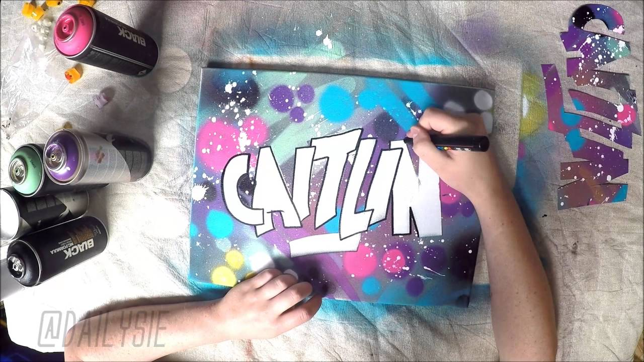 Diy graffiti inspired canvas art