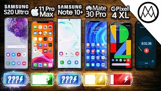 Samsung S20 Ultra vs iPhone 11 Pro Max / Note 10 Plus / Huawei Mate 30 Pro Battery Test