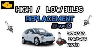 Bmw i3 How to Change Replace Headlight High Low Beam Turn Signal Bulbs - wymiana żarówek przód