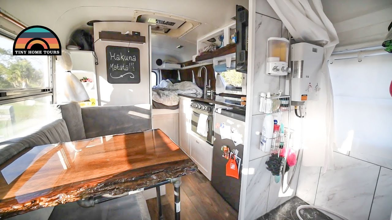 Carpenters DIY Mini School Bus Conversion W/ Shower - Full Time Bus Life