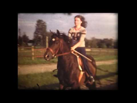 Sandra on snowmobile and Sandra and Shirley horseback riding. About 1978