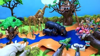 Playmobil Safari Watering Hole Build and Play Set - Fun Animals Toys For Kids