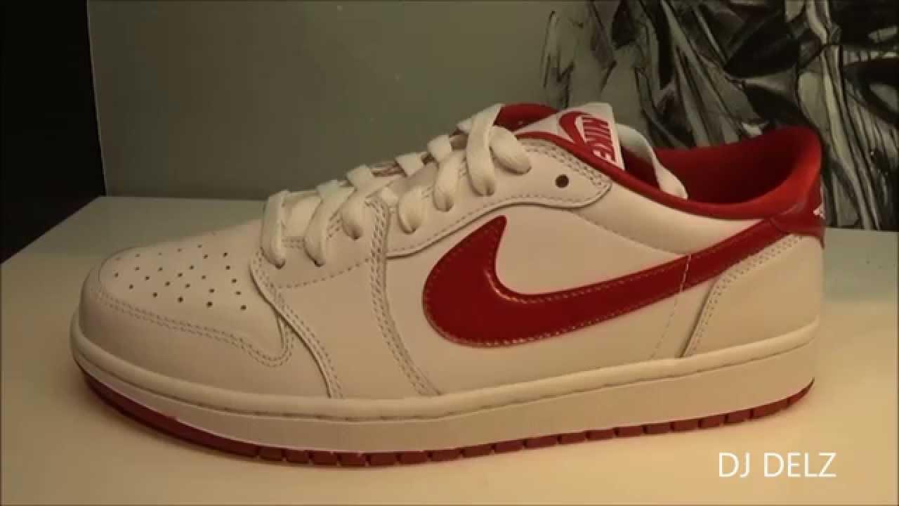 99820c2c7292ba 2015 Air Jordan 1 OG Retro Low White Varsity Red Low Sneaker Review With   DjDelz - YouTube