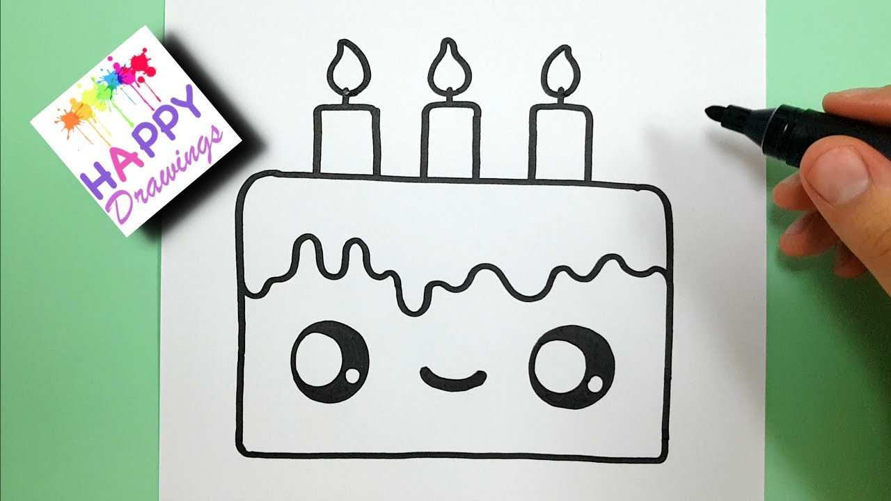 HOW TO DRAW A CUTE BIRTHDAY CAKE EASY