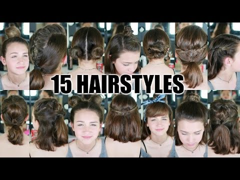 15 Heatless Hairstyles for SHORT hair BACK TO SCHOOL